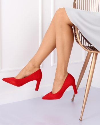 Pantofi dcu toc gros culoarea roşu 127140