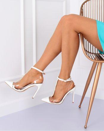 Pantofi cu toc subţire (stiletto) culoarea alb 127168