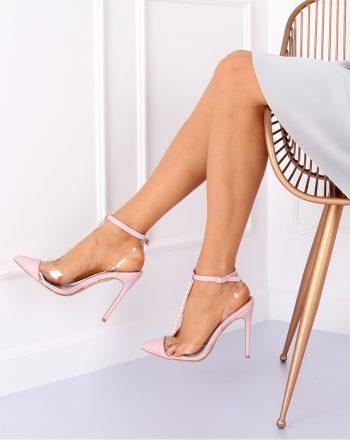 Pantofi cu toc subţire (stiletto) culoarea roz 127170