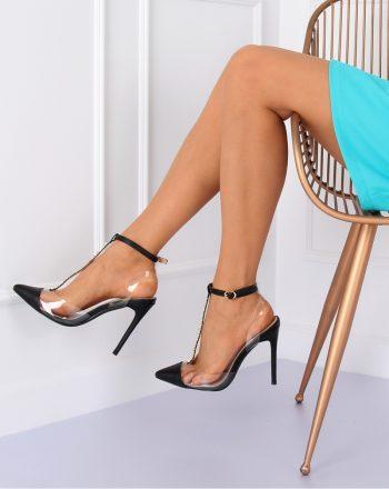 Pantofi cu toc subţire (stiletto) culoarea negru 127171