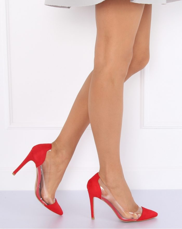 Pantofi cu toc subţire (stiletto) culoarea roşu 127175