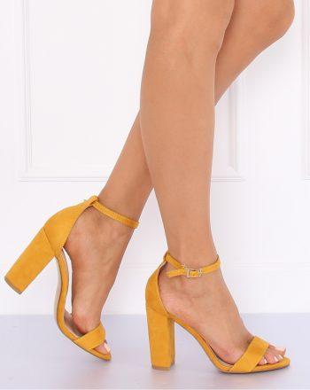 Sandale cu toc culoarea galben 127239