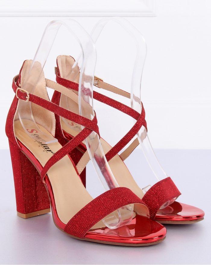 Sandale cu toc culoarea roşu 127250