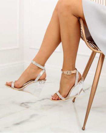 Sandale cu toc culoarea roz 128005
