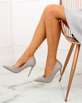 Pantofi cu toc subţire (stiletto) culoarea gri 128028