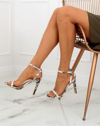 Sandale cu toc culoarea maro 128081
