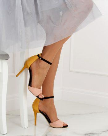 Sandale cu toc culoarea galben 128094