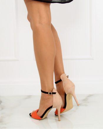 Sandale cu toc culoarea bej 128095
