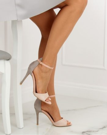Sandale cu toc culoarea gri 128096