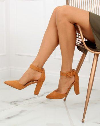 Pantofi dcu toc gros culoarea maro 128110