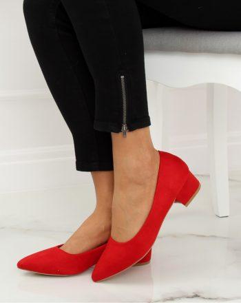 Pantofi dcu toc gros culoarea roşu 128128