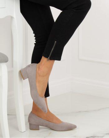 Pantofi dcu toc gros culoarea gri 128130
