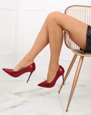 Pantofi cu toc subţire (stiletto) culoarea roşu 128198