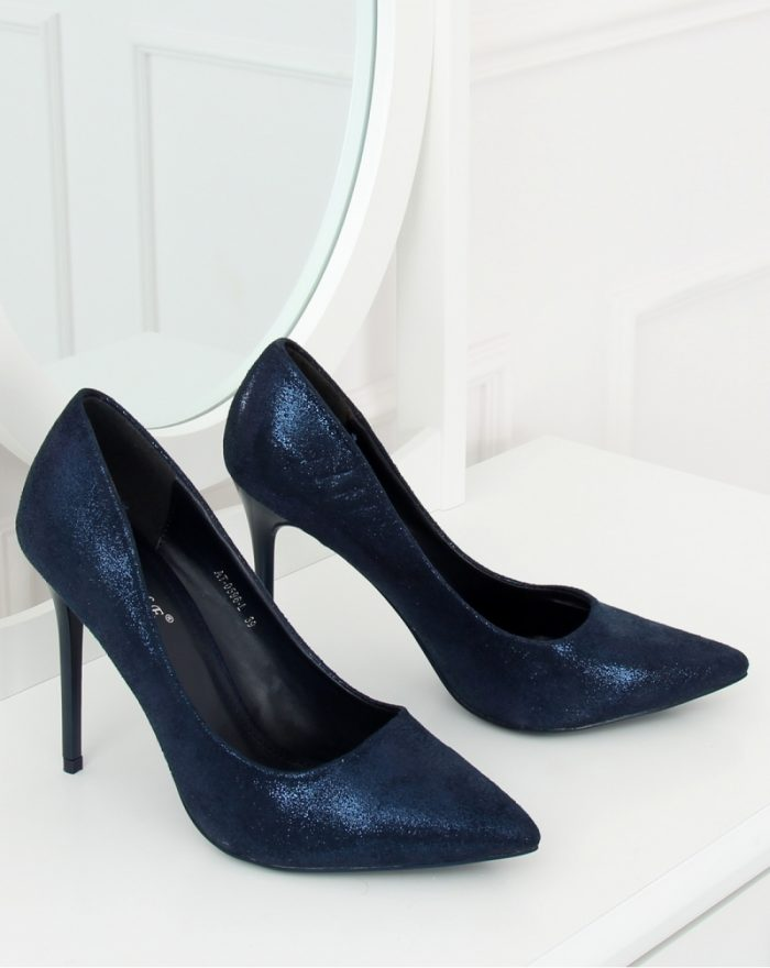 Pantofi cu toc subţire (stiletto) culoarea Bleumarin 128199