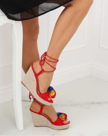 Sandale cu toc culoarea roşu 128360