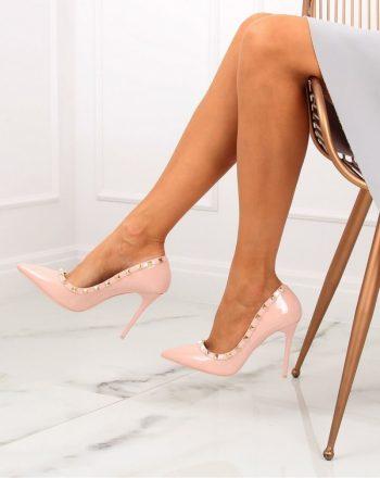 Pantofi cu toc subţire (stiletto) culoarea roz 129840