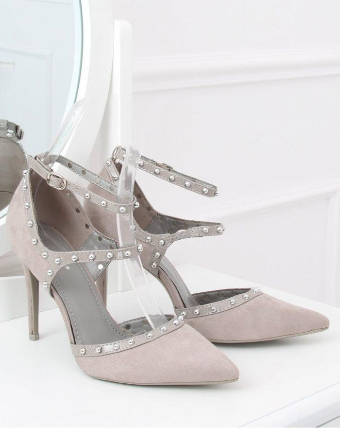 Pantofi cu toc subţire (stiletto) culoarea gri 130035