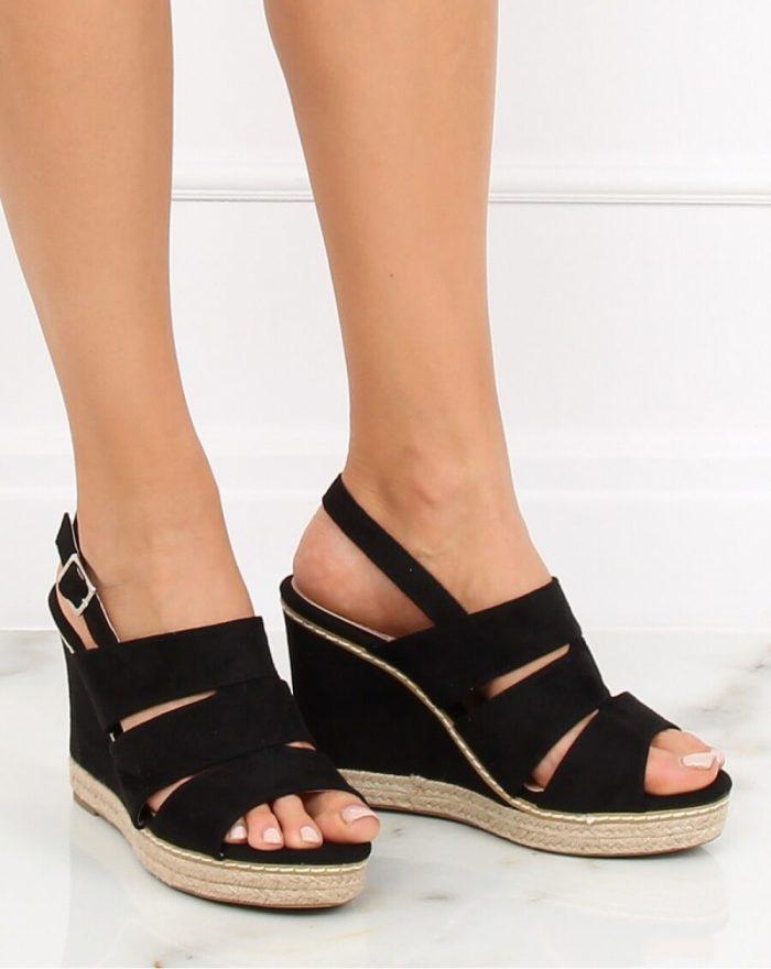 Sandale cu toc culoarea negru 130310