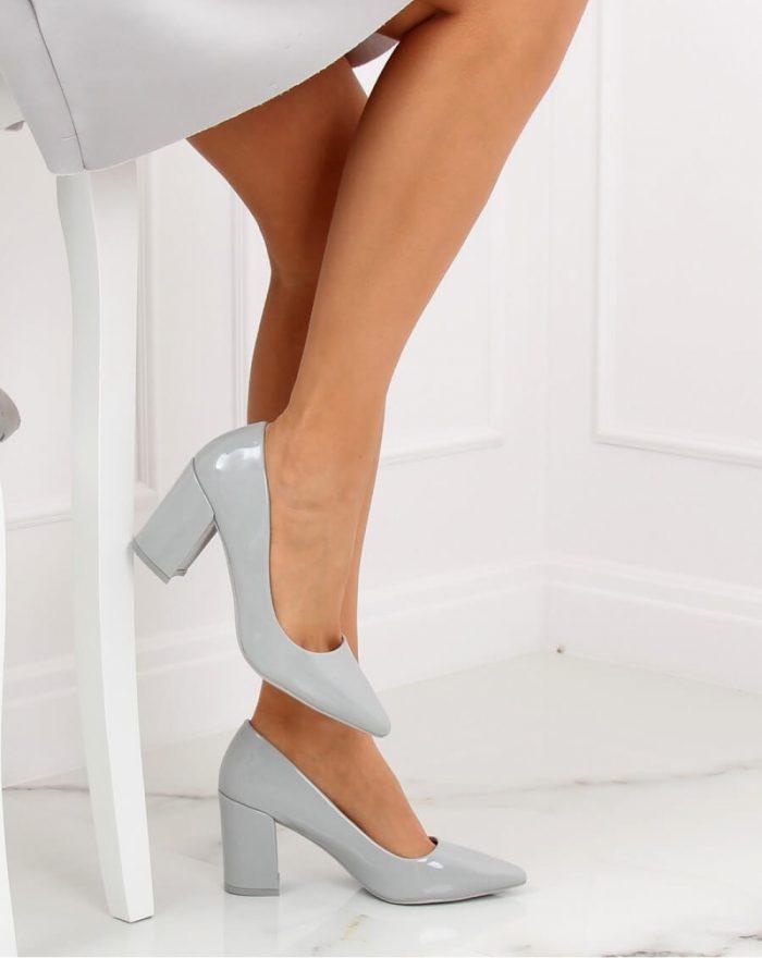 Pantofi dcu toc gros culoarea gri 130337