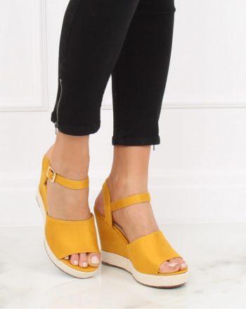 Sandale cu toc culoarea galben 130368
