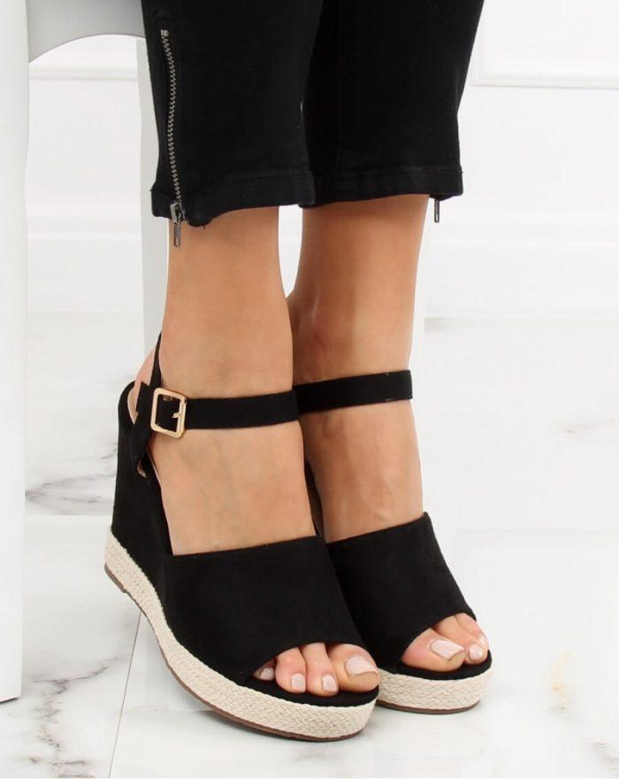 Sandale cu toc culoarea negru 130369
