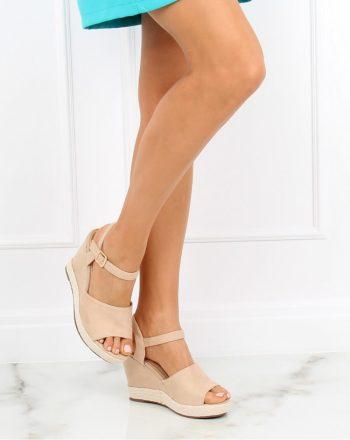 Sandale cu toc culoarea bej 130371