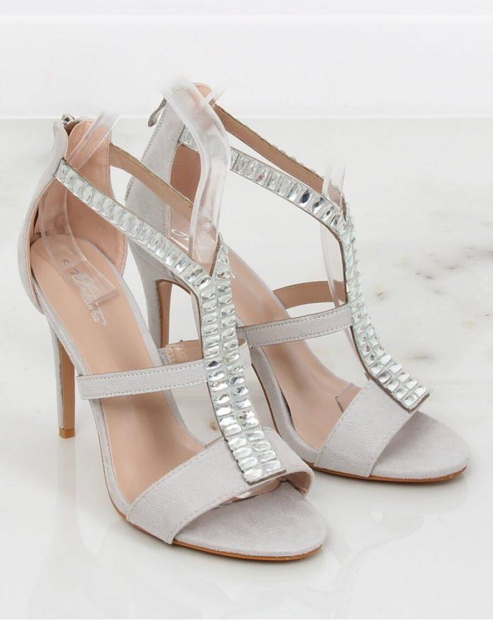 Sandale cu toc culoarea gri 130394