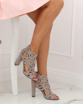 Pantofi dcu toc gros culoarea gri 133051