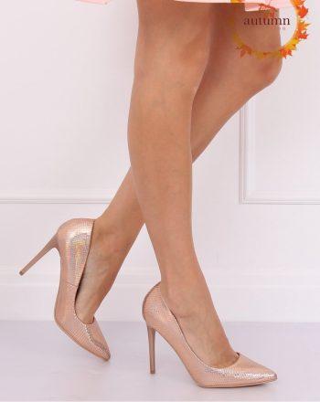 Pantofi cu toc subţire (stiletto) culoarea roz 134815