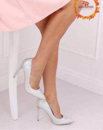 Pantofi cu toc subţire (stiletto) culoarea gri 134817