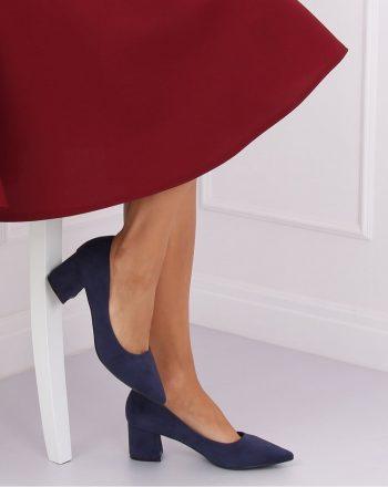 Pantofi dcu toc gros culoarea Bleumarin 135111