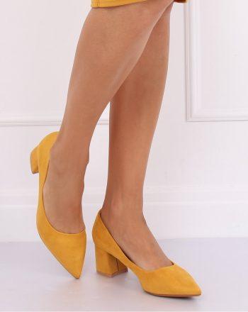 Pantofi dcu toc gros culoarea galben 135112