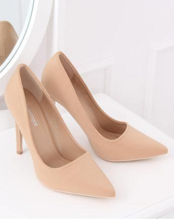 Pantofi cu toc subţire (stiletto) culoarea bej 136218