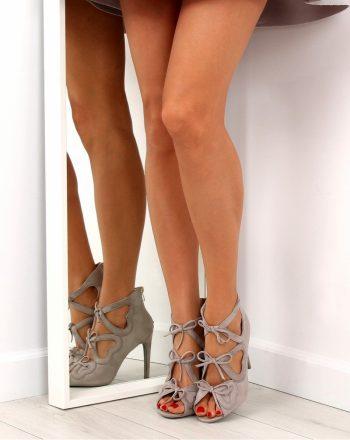 Pantofi cu toc subţire (stiletto) culoarea gri 137537