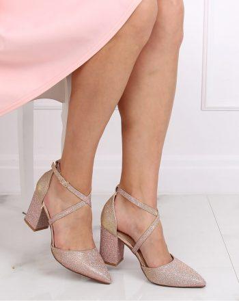 Pantofi dcu toc gros culoarea roz 139451