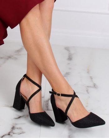 Pantofi dcu toc gros culoarea negru 139452