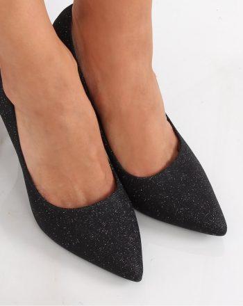 Pantofi cu toc subţire (stiletto) culoarea negru 139728