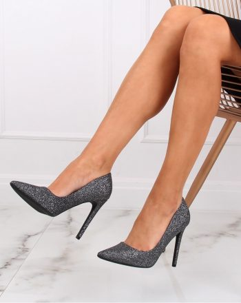 Pantofi cu toc subţire (stiletto) culoarea gri 139730