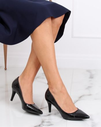Pantofi cu toc subţire (stiletto) culoarea negru 139736