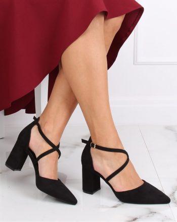 Pantofi dcu toc gros culoarea negru 139742
