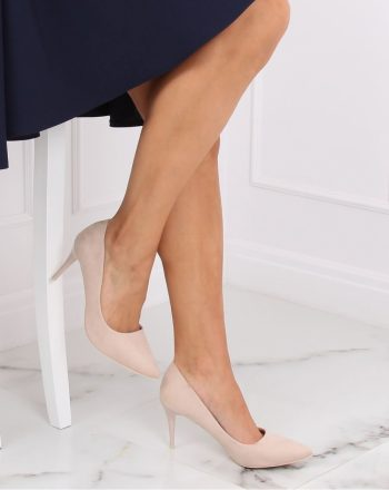 Pantofi cu toc subţire (stiletto) culoarea bej 139747