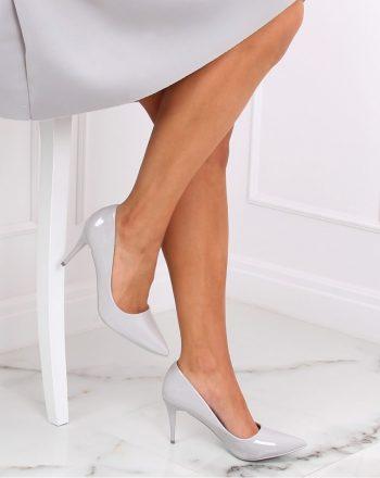 Pantofi cu toc subţire (stiletto) culoarea gri 139755