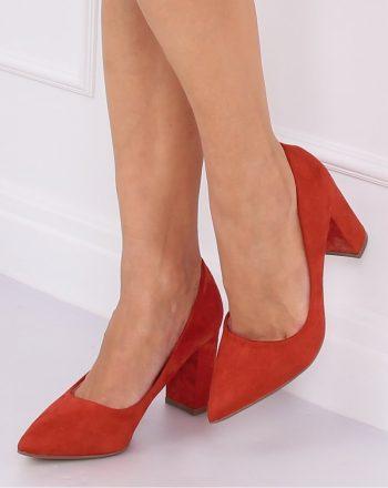 Pantofi dcu toc gros culoarea portocaliu 140709
