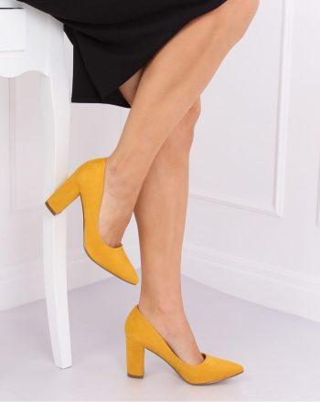 Pantofi dcu toc gros culoarea galben 140710