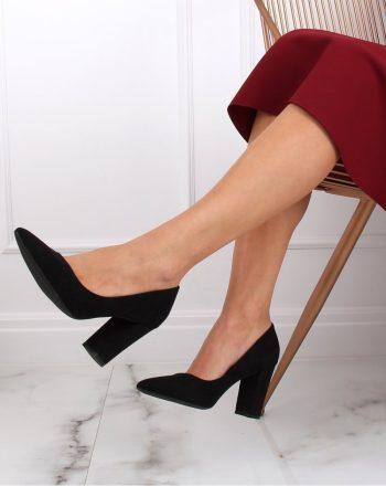 Pantofi dcu toc gros culoarea negru 142153