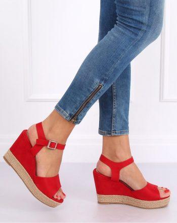 Sandale cu talpă tip pană culoarea roşu 142458