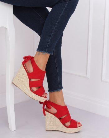 Sandale cu talpă tip pană culoarea roşu 142469
