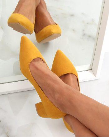 Pantofi dcu toc gros culoarea galben 142757