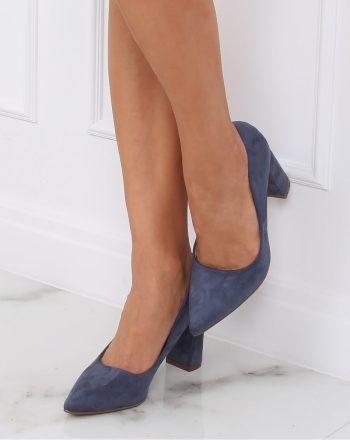 Pantofi dcu toc gros culoarea albastru 142933
