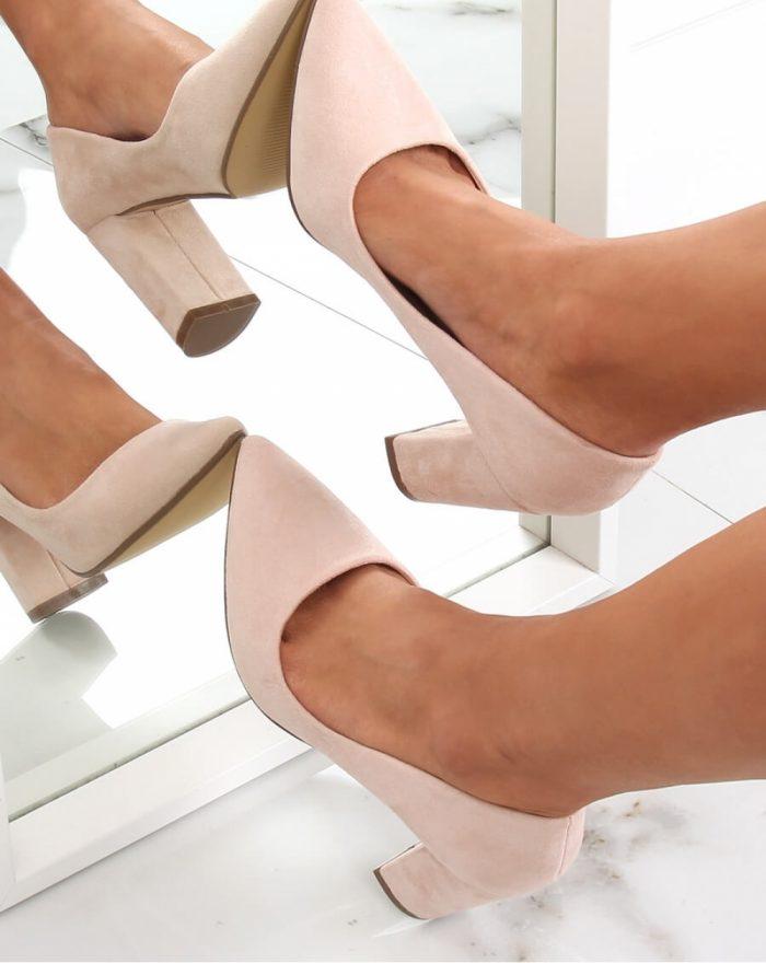 Pantofi dcu toc gros culoarea bej 142934